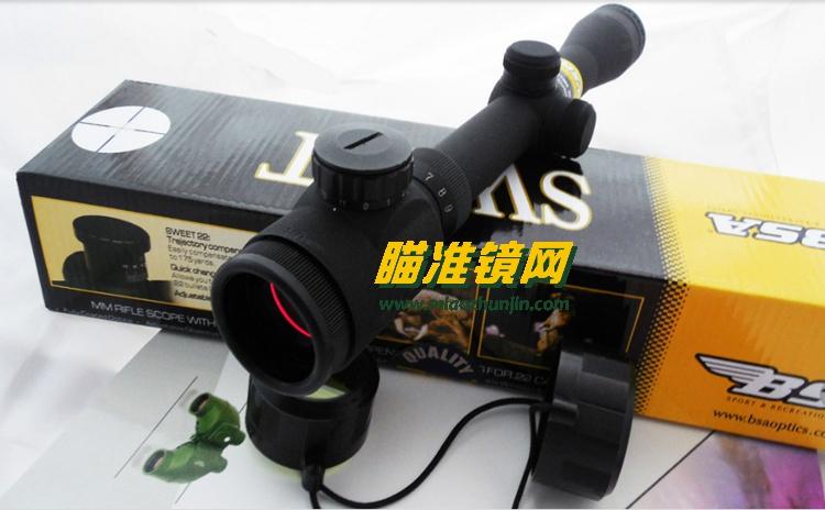 美国bsa 3-9x32红色和绿色发光磨砂黑瞄准镜